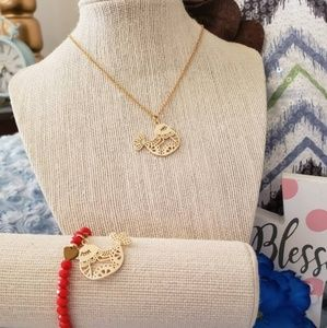 Jewelry - Gold cute bird spring necklace